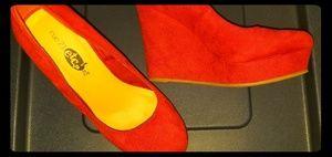 Rue21 Red Velour Wedge Heel sz. 7/8 NWOT